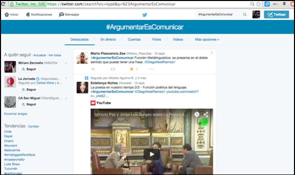 Ilustración 1uso del hashtag #ArgumentarEsComunicar