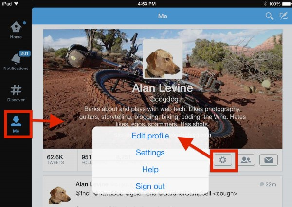 Editing your profile settings on the twitter ipad app